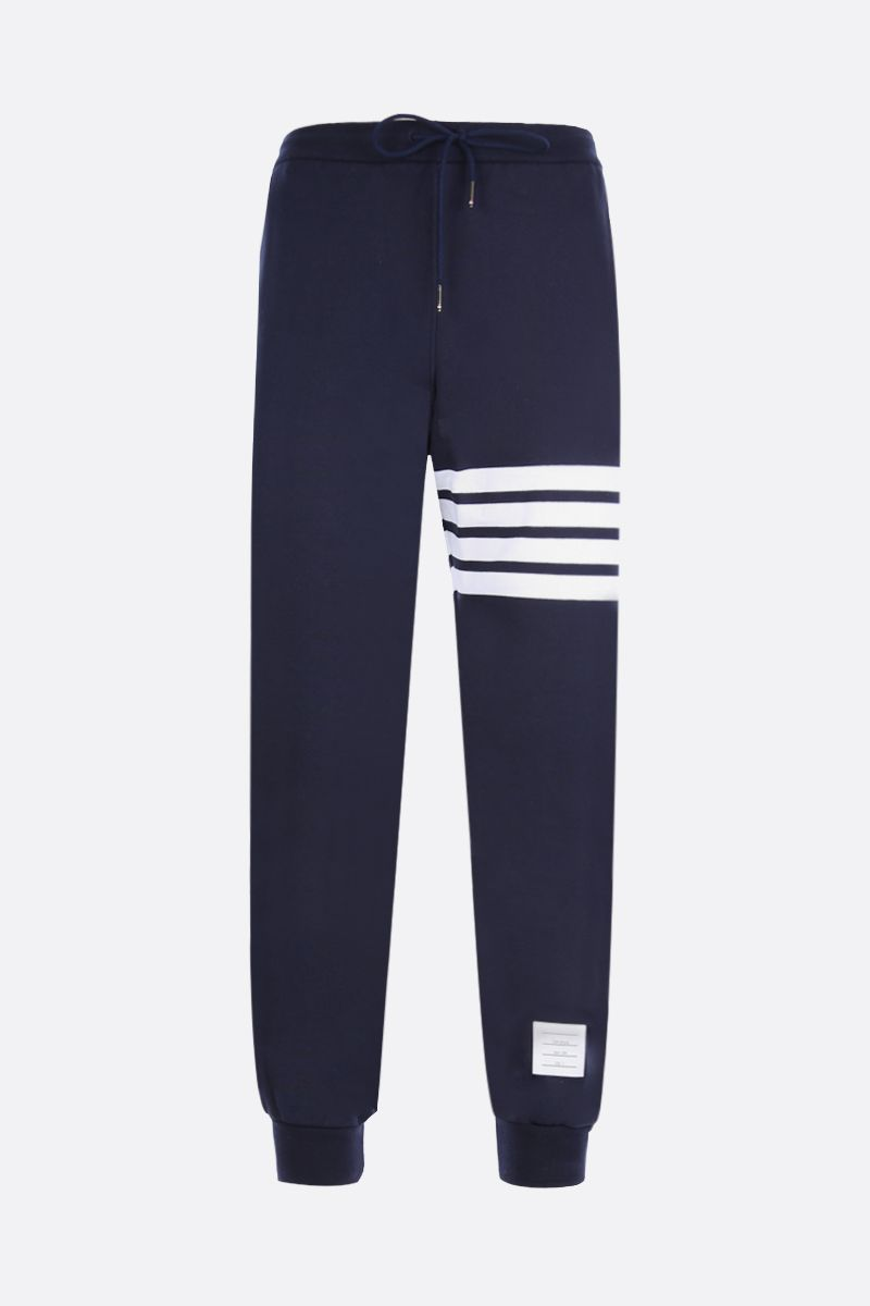 THOM BROWNE: 4-bar detailed jersey joggers Color Blue_1