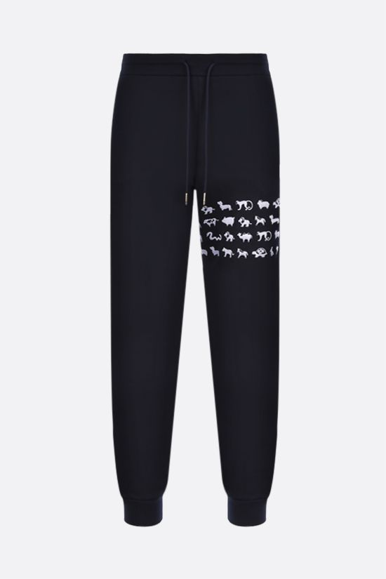 THOM BROWNE: animals embroidered cotton joggers Color Blue_1
