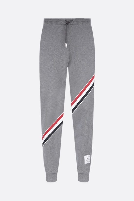 THOM BROWNE: tricolour-detailed cotton joggers Color Grey_1