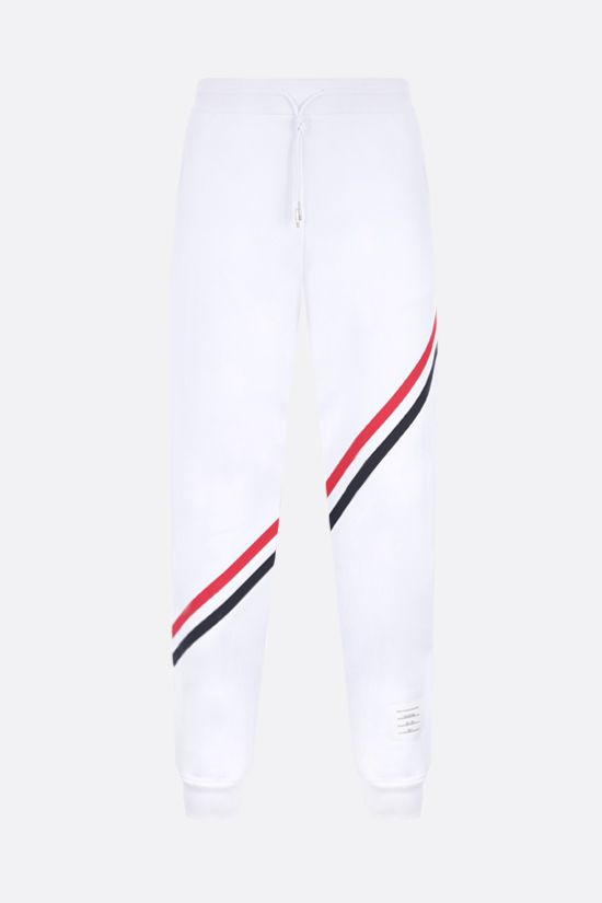 THOM BROWNE: tricolour-detailed cotton joggers Color White_1
