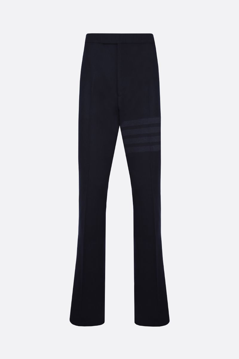 THOM BROWNE: 4-bar detailed flannel pants Color Blue_1