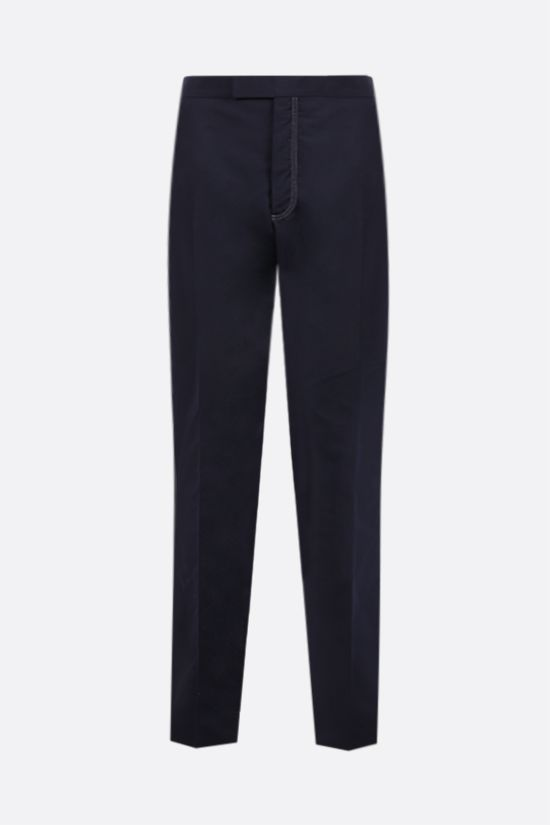 THOM BROWNE: technical cotton slim-fit pants Color Blue_1