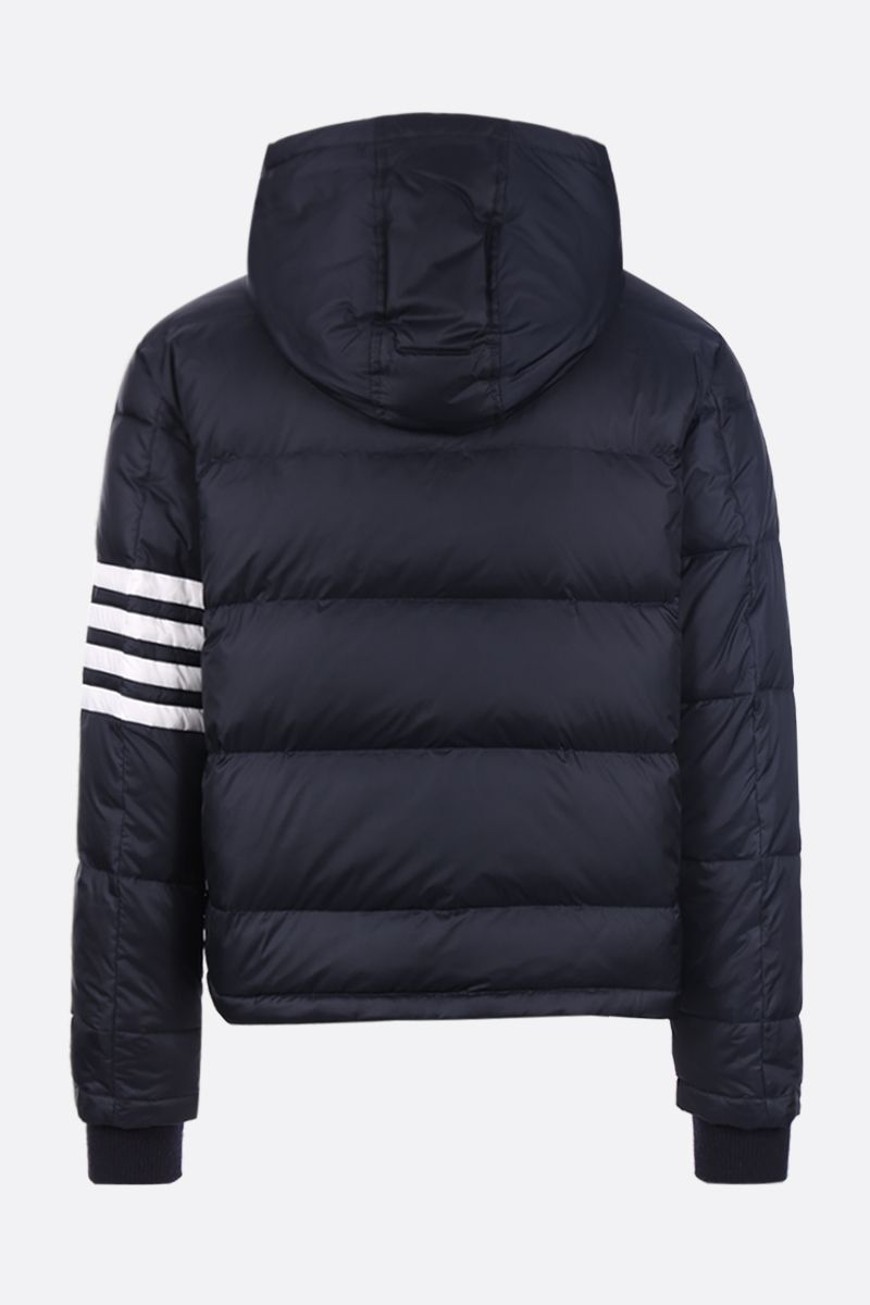 THOM BROWNE: 4-bar detail nylon down jacket Color Blue_2