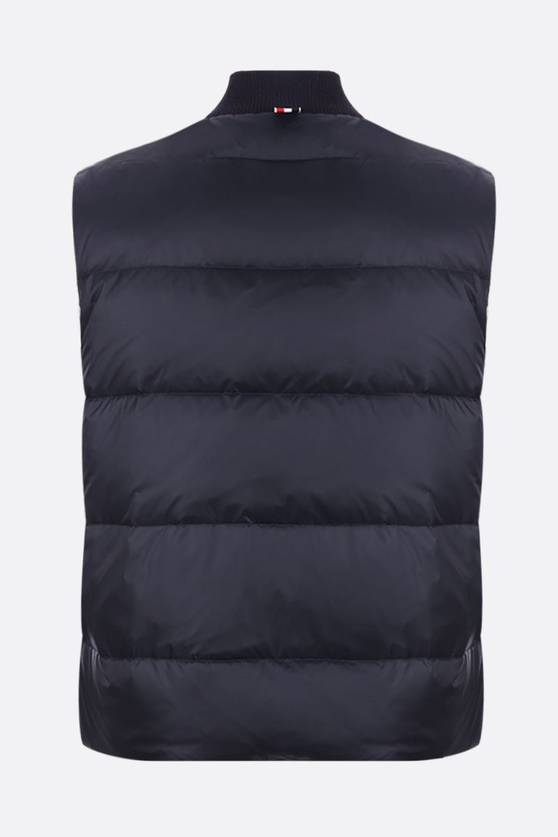 THOM BROWNE: 4-bar detailed sleeveless nylon down jacket Color Blue_2