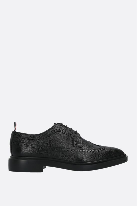 THOM BROWNE: Pebble Grain derby shoes Color Black_1