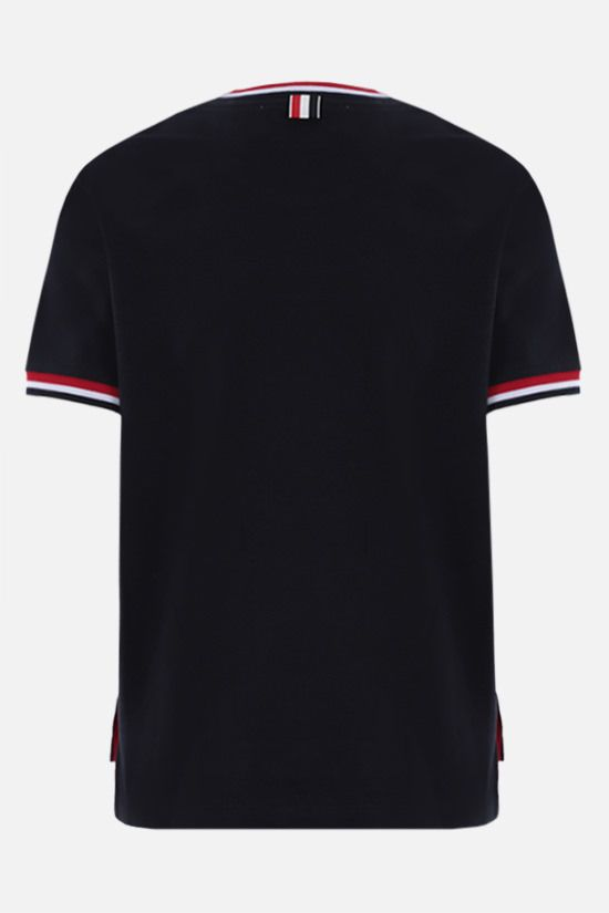 THOM BROWNE: tricolour-detailed cotton t-shirt Color Blue_2