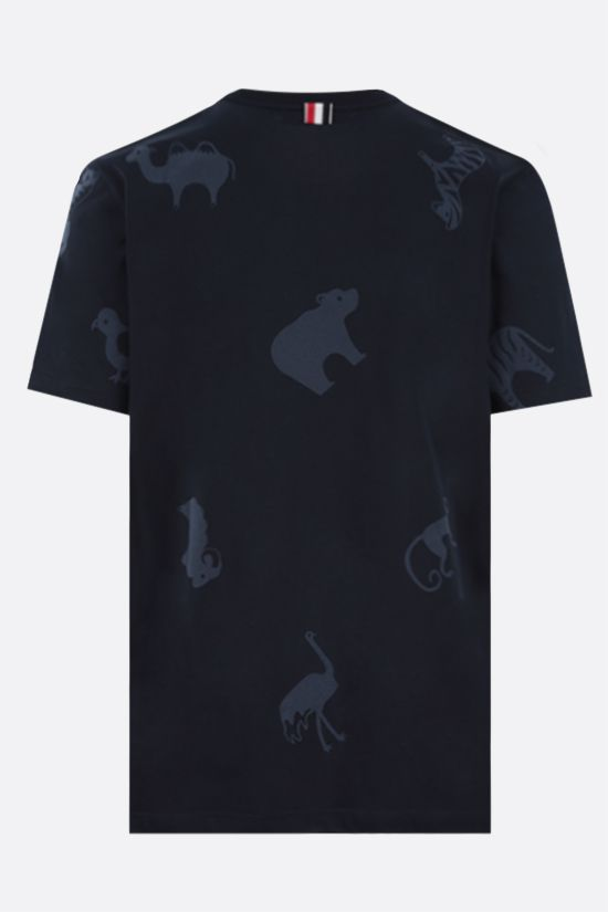 THOM BROWNE: Animals print cotton t-shirt Color Blue_2