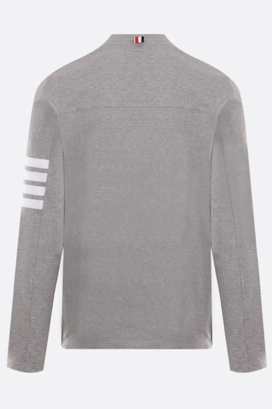 THOM BROWNE: 4-bar detailed cotton long-sleeved t-shirt Color Grey_2