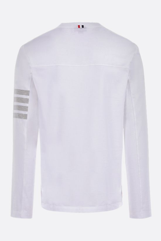 THOM BROWNE: 4-bar detailed cotton long-sleeved t-shirt Color White_2