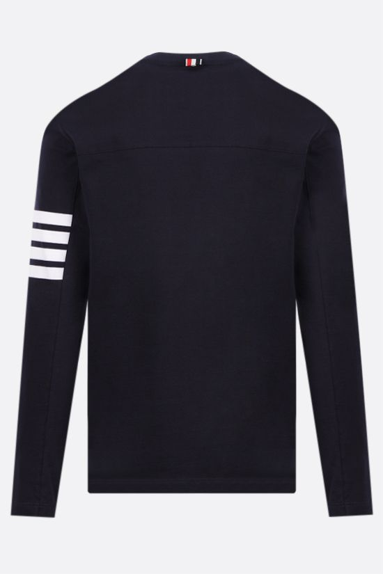THOM BROWNE: 4-bar detailed cotton long-sleeved t-shirt Color Blue_2