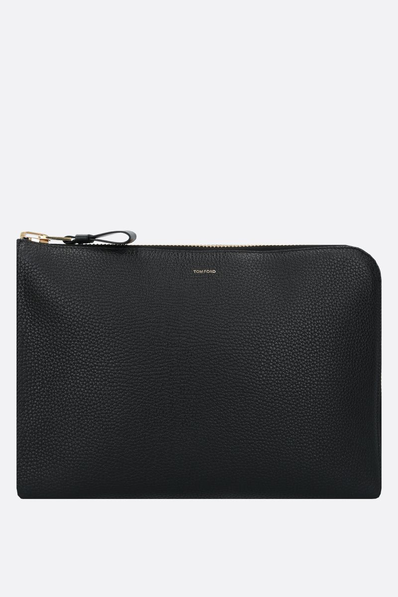 TOM FORD: porta pc in pelle martellata Colore Nero_1