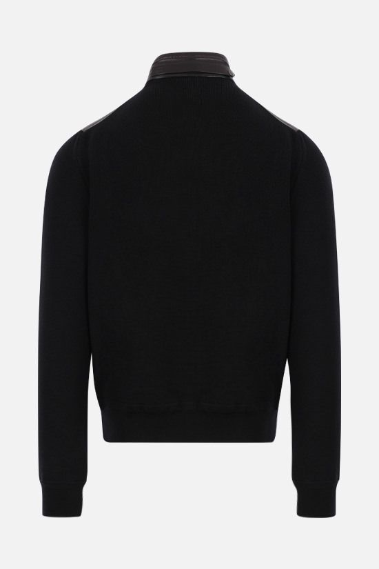 TOM FORD: nappa and wool knit bomber jacket Color Black_2