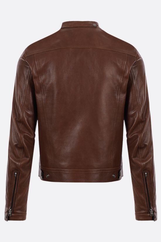 TOM FORD: soft leather biker jacket Color Brown_2