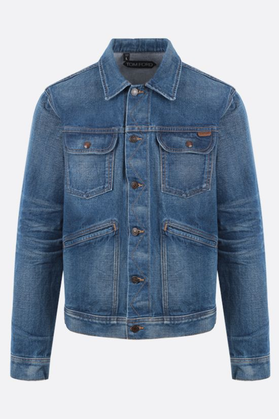 TOM FORD: logo label-detailed denim jacket Color Blue_1