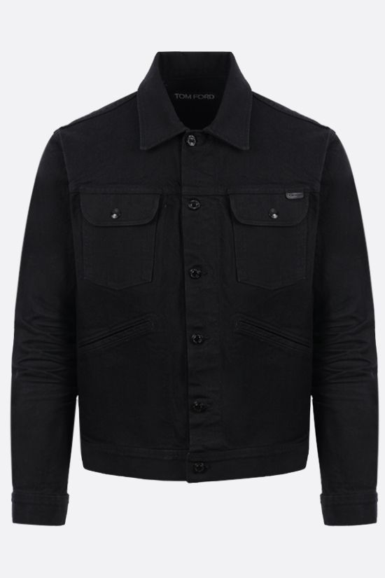 TOM FORD: logo label-detailed stretch denim jacket Color Black_1
