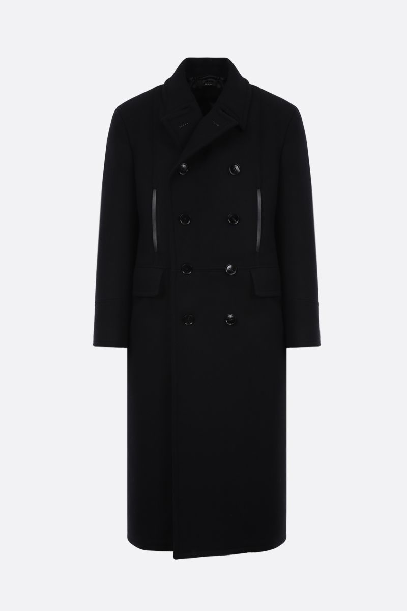 TOM FORD: double-breasted wool cashmere blend coat Color Black_1