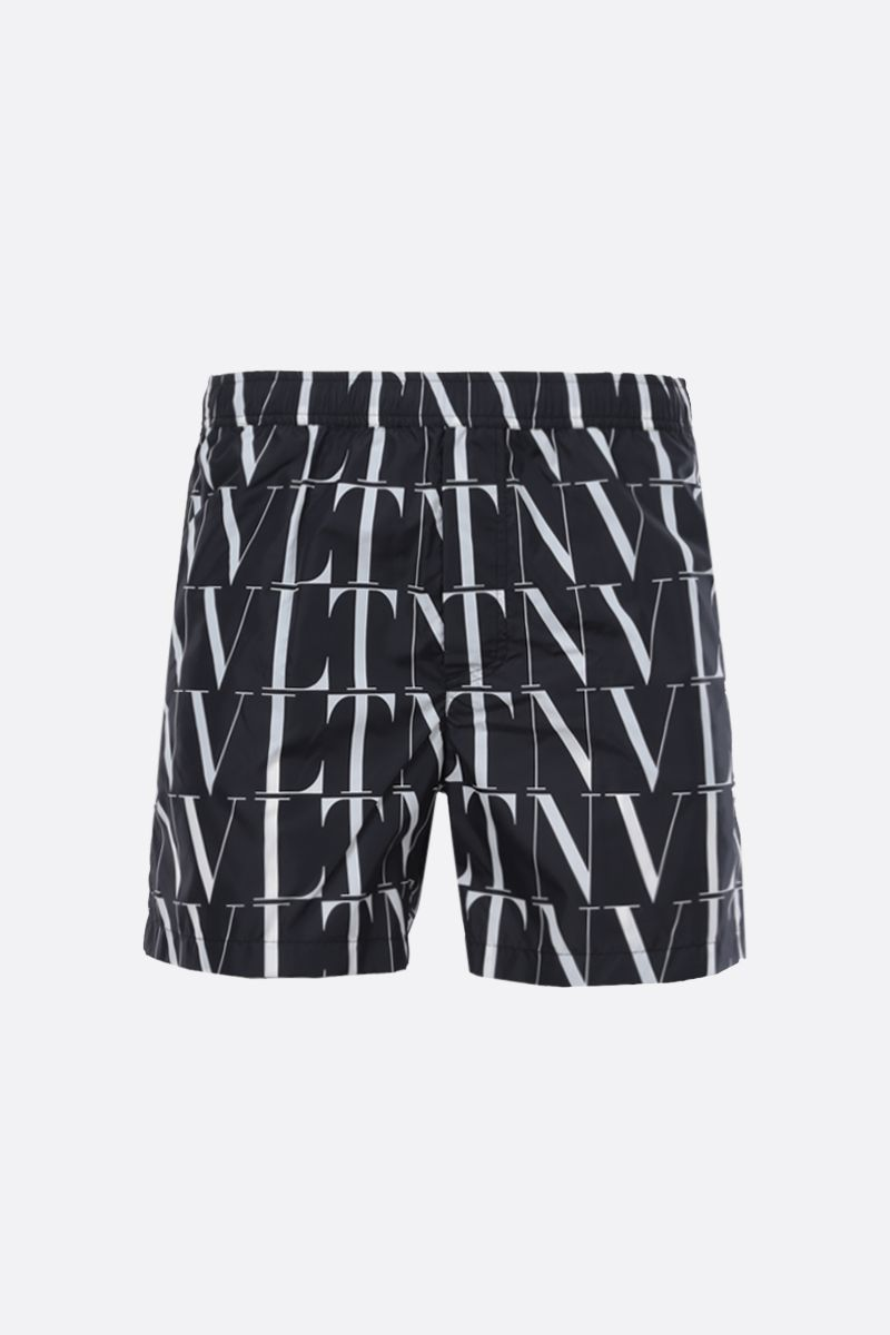 VALENTINO: VLTN TIMES print nylon swim shorts Color Black_1