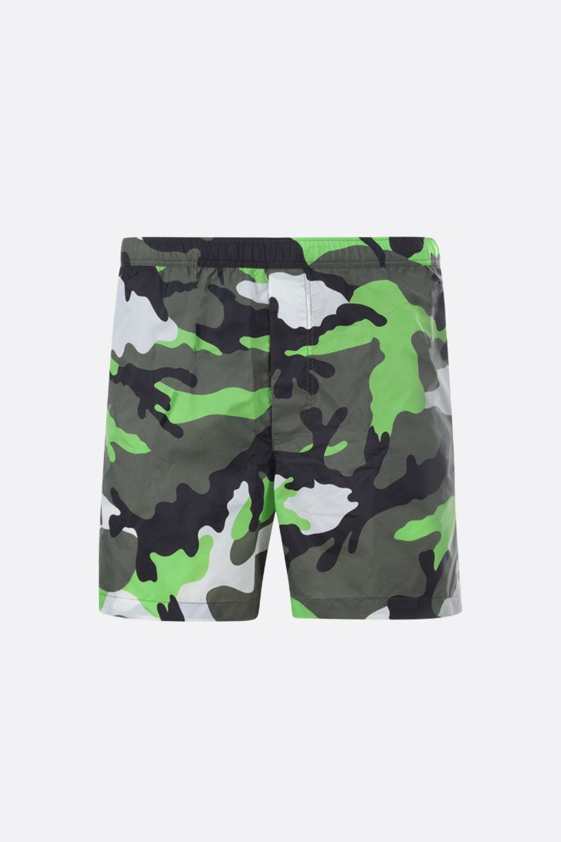 VALENTINO: camouflage print nylon swim shorts Color Black_1