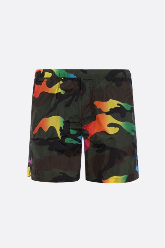 VALENTINO: camouflage print nylon swim shorts Color Green_1