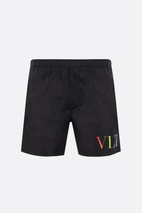 VALENTINO: VLTN Multicolor print nylon swim shorts Color Black_1
