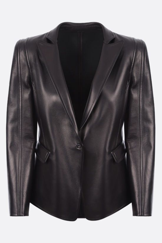 VALENTINO: single-breasted soft nappa jacket Color Black_1