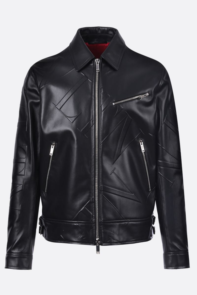 VALENTINO: VLTN GRID smooth leather jacket Color Black_1