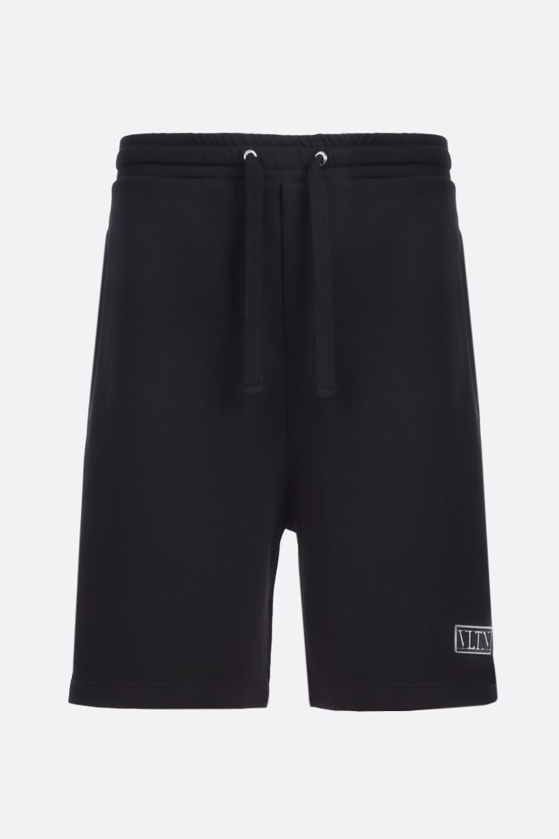 VALENTINO: VLTN TAG technical cotton shorts Color Black_1
