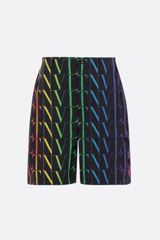VALENTINO: VLTN TIMES print nylon shorts Color Black_1