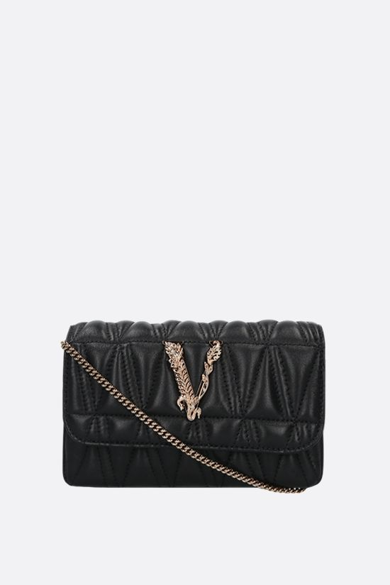 VERSACE: Virtus mini quilted nappa crossbody bag Color Black_1