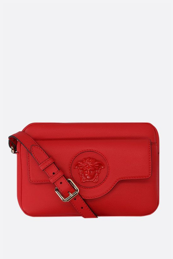 VERSACE: La Medusa grainy leather shoulder bag Color Red_1