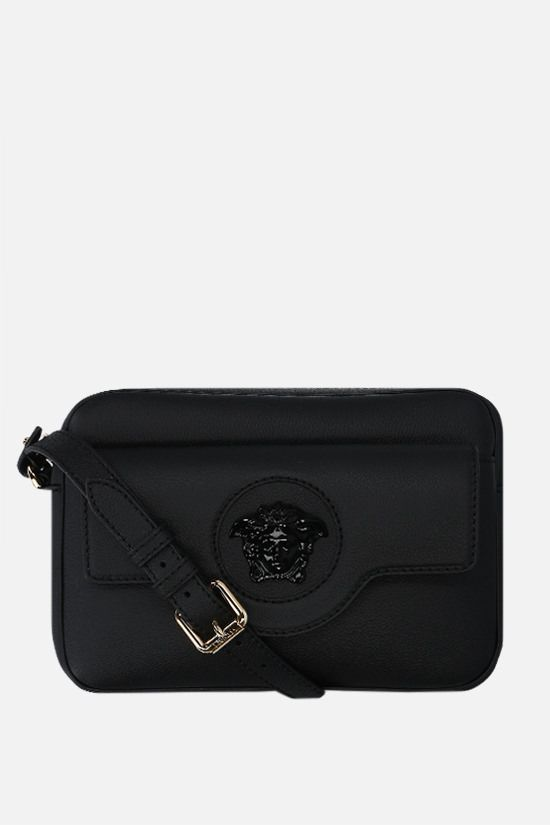 VERSACE: La Medusa grainy leather shoulder bag Color Black_1