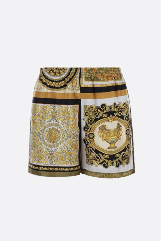 VERSACE: Barocco Mosaic print silk shorts Color Gold_1