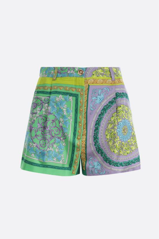 VERSACE: Barocco Mosaic print silk shorts Color Purple_1