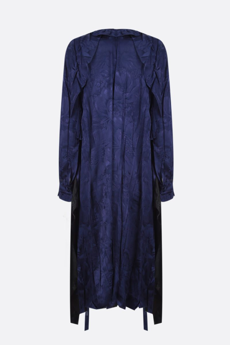 BALENCIAGA: pleated dress in floral jacquard and twill Color Blue_2