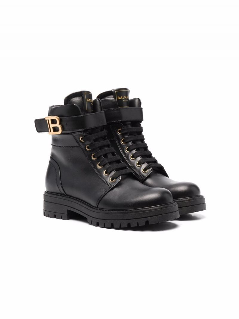 BALMAIN KIDS: logo-detailed smooth leather combat boots Color Black_1