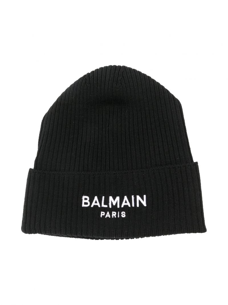 BALMAIN KIDS: logo embroidered ribbed wool beanie Color Black_1