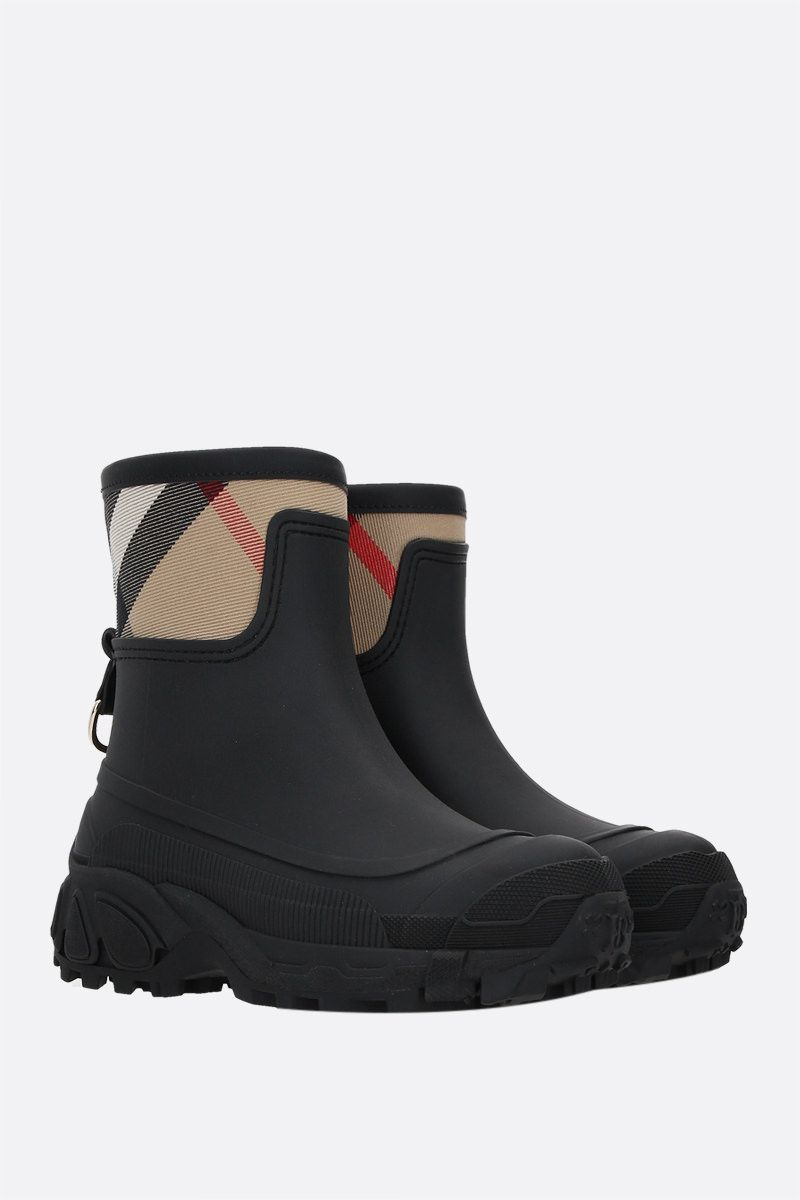BURBERRY: Ryan rubber and canvas rain boots Color Black_2