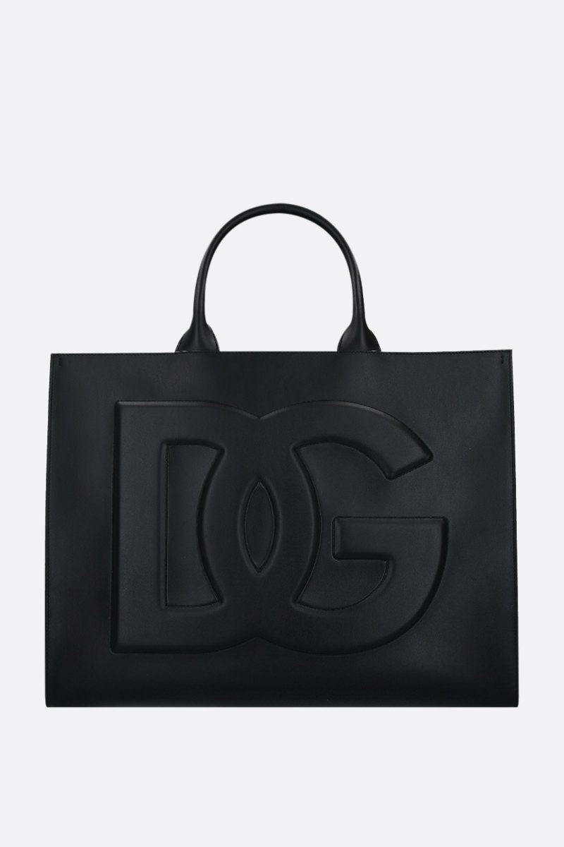 DOLCE & GABBANA: Beatrice small smooth leather tote bag Color Black_1