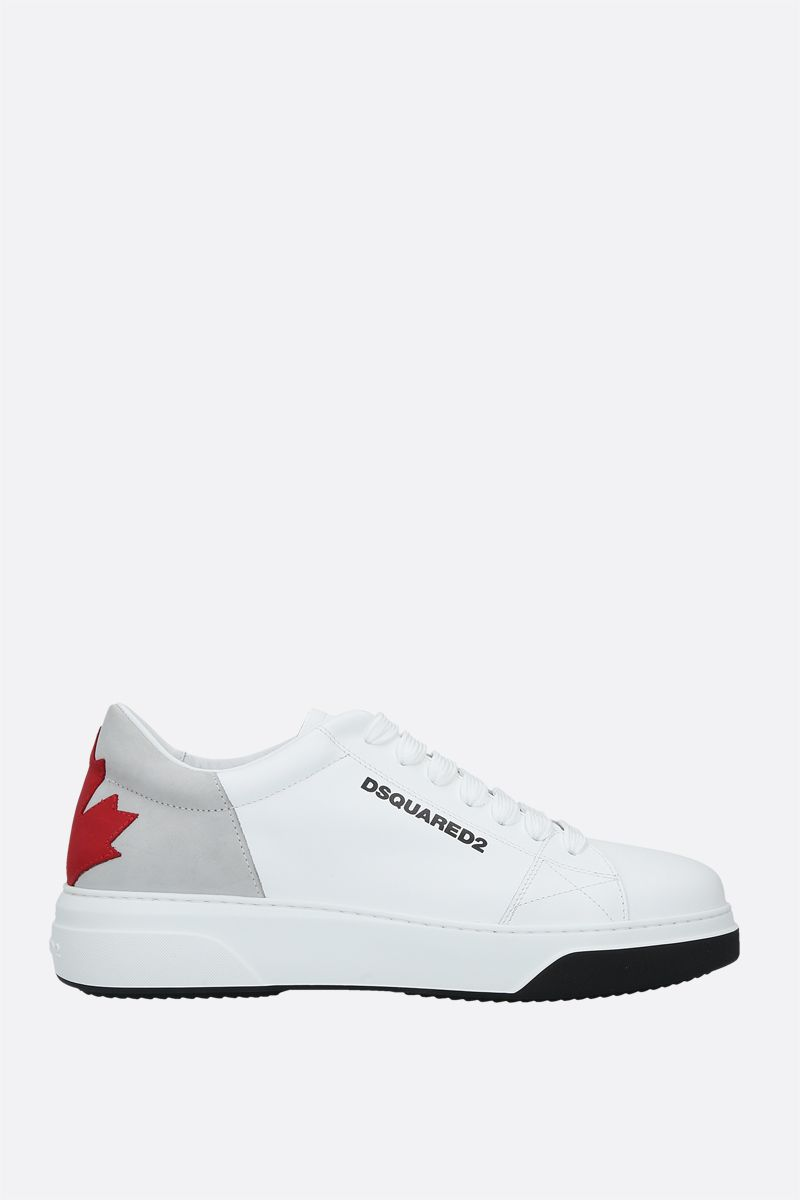 DSQUARED2: Bumper smooth leather and nabuk sneakers Color White_1