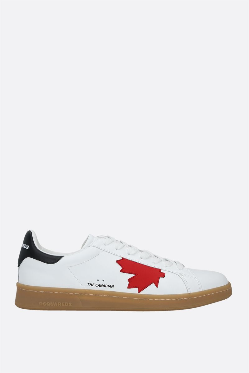 DSQUARED2: Boxer smooth leather sneakers Color White_1