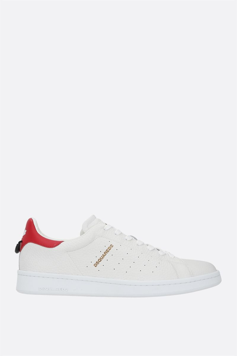 DSQUARED2: Dsquared2 Boxer grainy leather sneakers Color White_1