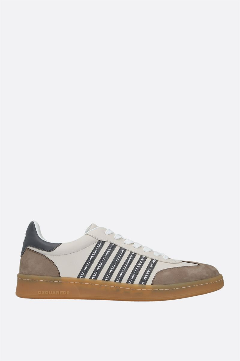 DSQUARED2: Boxer smooth leather and nabuk sneakers Color White_1