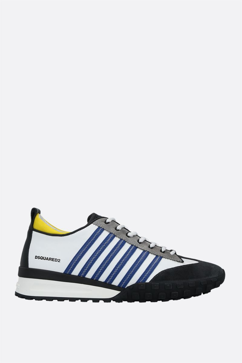 DSQUARED2: Legend smooth leather and suede sneakers Color White_1