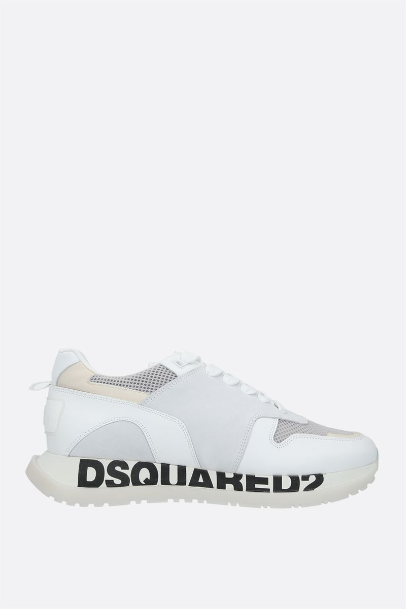 DSQUARED2: Running smooth leather, suede and mesh sneakers Color White_1