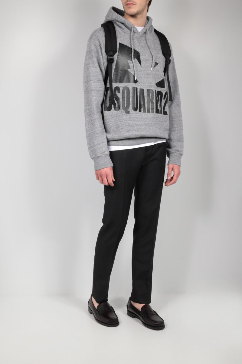 DSQUARED2: Canadian Leaf print cotton hoodie Color Grey_2