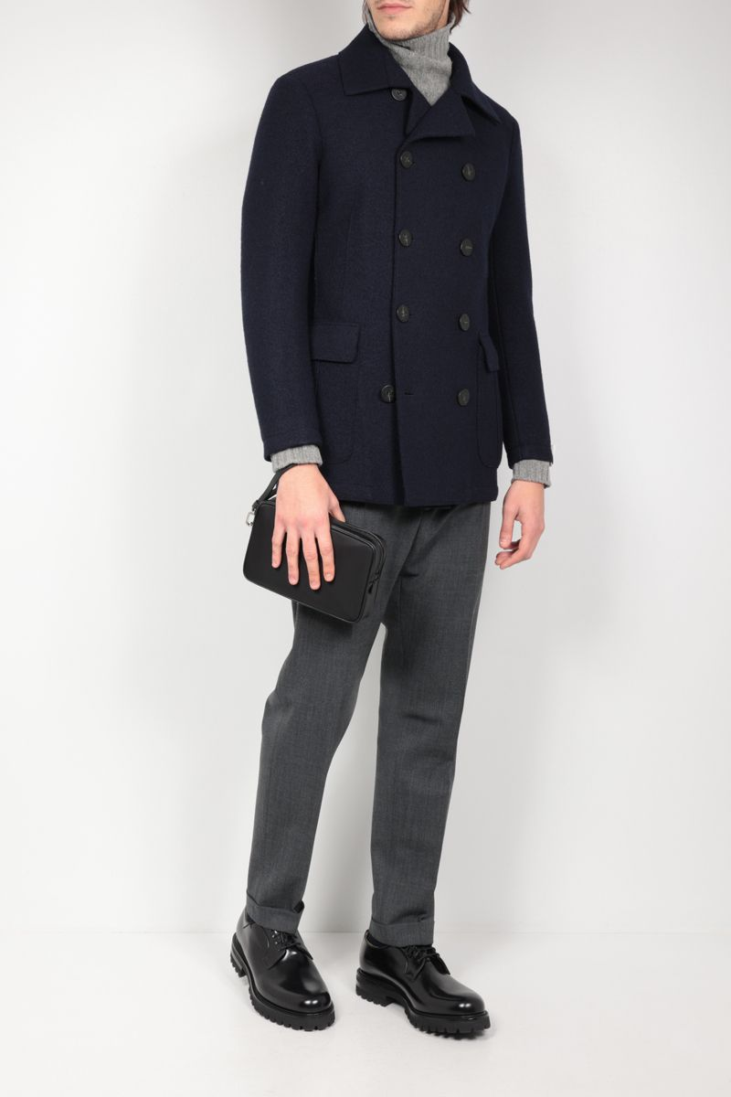 ELEVENTY: double-breasted wool coat Color Blue_2