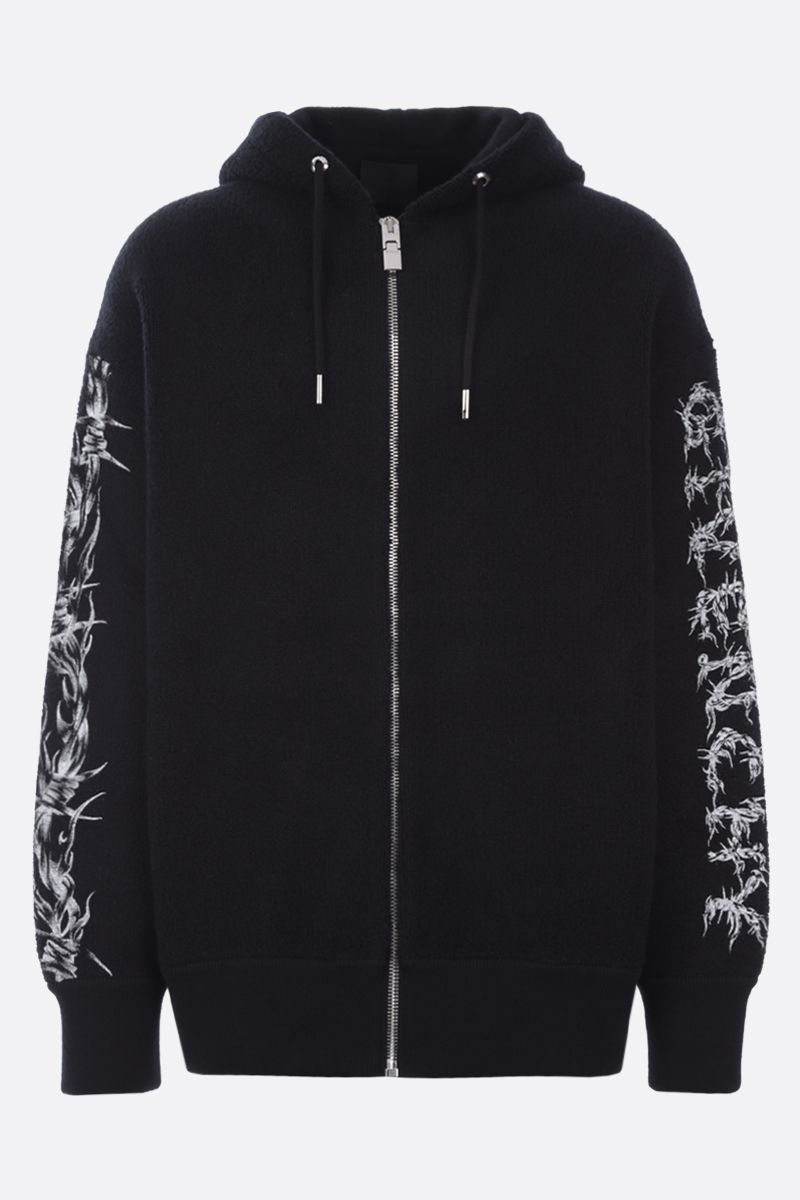 GIVENCHY: Barbed Wire full-zip wool jacket Color Black_1