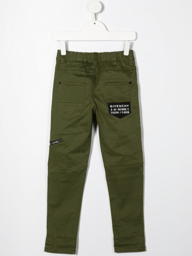 GIVENCHY KIDS: logo-detailed stretch cotton pants Color Brown_2