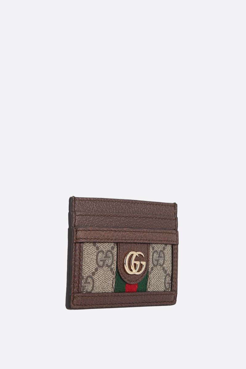 GUCCI: GG Supreme canvas and leather card case Color Brown_2