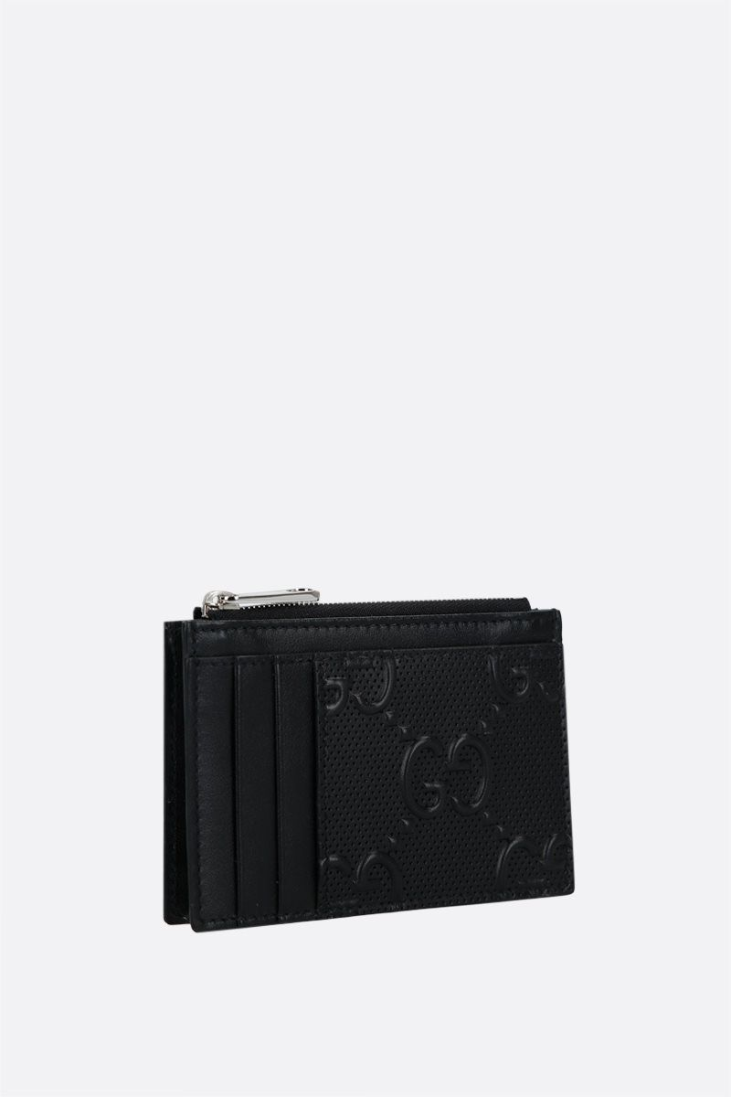 GUCCI: GG embossed leather zipped card case Color Black_2